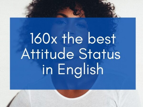 """Woman on the background with blue box and text that says """"160x the best attitude status in english"""""""