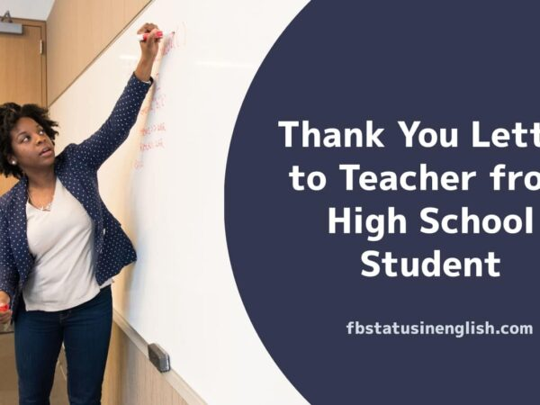 Thank You Letter to Teacher from High School Student