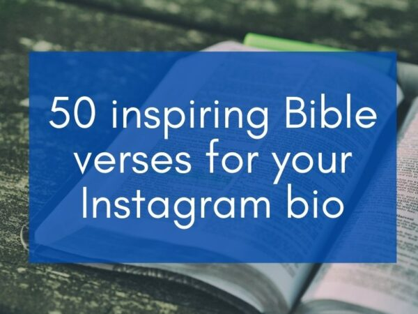 "Bible wit blue box with text ""50 inspiring Bible verses for Instagram bio"""