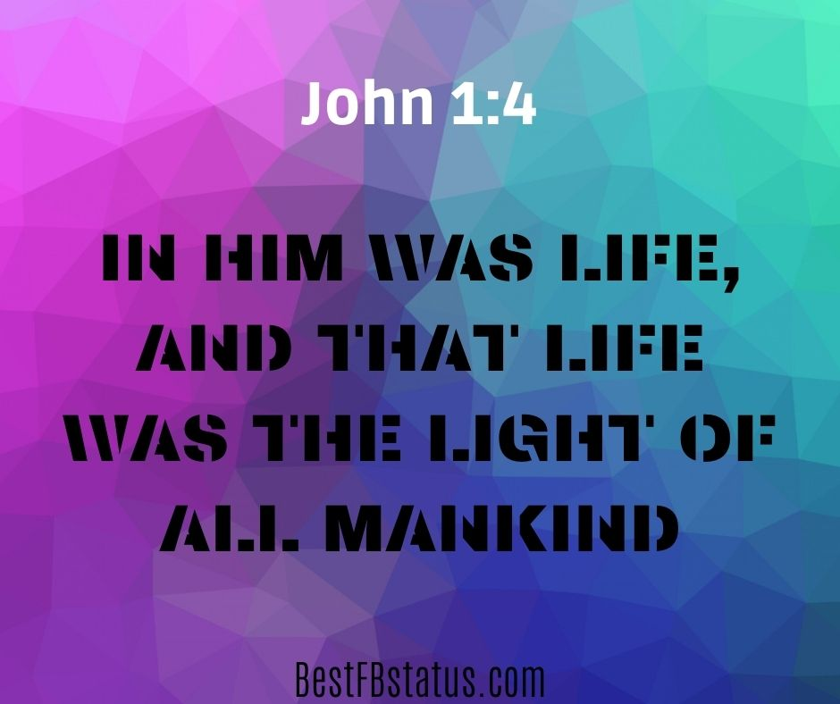 "short bible verses for instagram bio example: ""in him was life, and that life was the light of all mankind"""