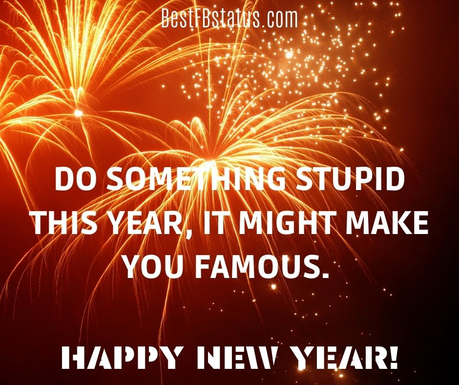 Do something stupid this year, it might make you famous. Happy new year